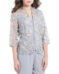 Alex Evenings - Petite Size Embroidered Lace Twinset Top - Lyst