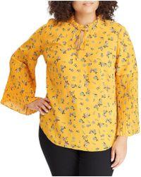 Lauren by Ralph Lauren - Plus Size Floral Print Ruffle Mock Neck Georgette Pleated Bell Sleeve Top - Lyst