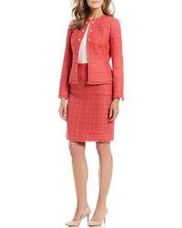 Tahari - Boucle Fringe Trim 2-piece Skirt Suit - Lyst