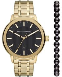 Armani Exchange - Men's Three-hand Gold-tone Stainless Steel Watch Set - Lyst
