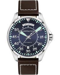 Hamilton - Khaki Pilot Mechanical Automatic Leather-strap Watch - Lyst