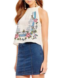 Free People - Honey Pie Embroidered Smocked Sleeveless Top - Lyst
