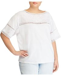 Lauren by Ralph Lauren - Plus Size Eyelet Cotton-blend T-shirt - Lyst