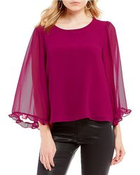 1.STATE - Ruffle Trim Bell Sleeve Blouse - Lyst