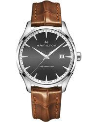 Hamilton - Jazzmaster Gent Analog & Date Leather-strap Watch - Lyst
