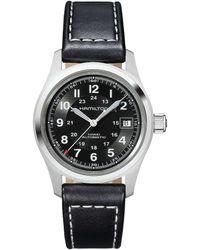 Hamilton - Khaki Field Automatic Black Leather-strap Watch - Lyst