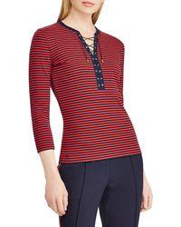 Lauren by Ralph Lauren - Petite Size Lace-up Striped Cotton Top - Lyst