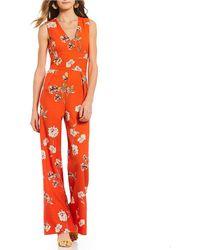 Sugarlips - Floral Print Wide Leg Jumpsuit - Lyst
