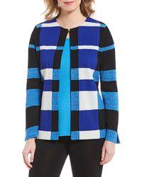 Misook - Jewel Neck Plaid Long Sleeve Jacket - Lyst