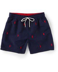 9293ae8405 Polo Ralph Lauren - Navy Print Logo Swim Shorts - Lyst