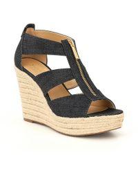 d64caf5c5760 MICHAEL Michael Kors - Damita Denim Zip Up Espadrille Wedge Sandals - Lyst