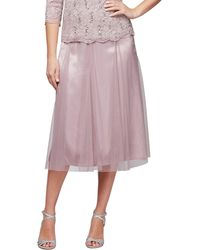 Alex Evenings - Tea Length Full Skirt With Godet Insets - Lyst