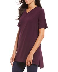 Eileen Fisher - V-neck Short Sleeve Hi-low Jersey Knit Tunic - Lyst