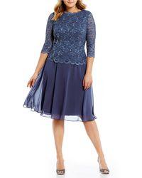 edb258178a3 Off The Shoulder Velvet Bodice Sheath Dress.  169  101 (40% off). Nordstrom  · Alex Evenings - Plus Size Mock 2-piece Lace Tea Length Dress - Lyst