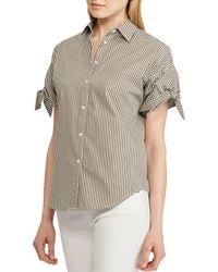 eacdc411 Lauren by Ralph Lauren - Petite Size Pinstripe Cotton Tie Sleeve Shirt -  Lyst