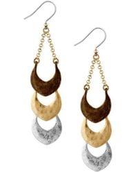Lucky Brand | Tri-tone Linear Drop Earrings | Lyst