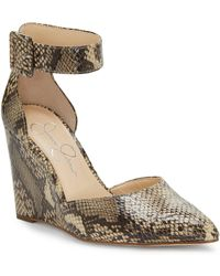Jessica Simpson - Moyra Ankle-strap Snake Wedges - Lyst