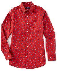 Cremieux - Medallion Print Twill Long-sleeve Woven Shirt - Lyst
