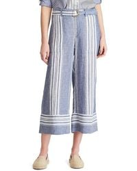 feb2eef9348857 Ralph Lauren - Lauren Striped Linen Cropped Pants - Lyst