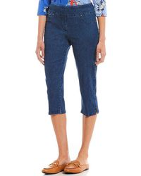 Ruby Rd. - Petites Pull-on Extra Stretch Denim Cropped Capri - Lyst