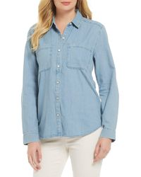Eileen Fisher Organic Cotton Classic Collar Button Front Shirt - Blue