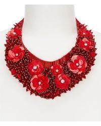 Belle By Badgley Mischka - Flower Seed Bead Bib Necklace - Lyst