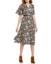 Blu Pepper - Floral-plaid Printed Mix Midi Dress - Lyst