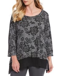 Ruby Rd. - Plus Size 3/4 Sleeve Marled Floral Scroll Print Burnout Rib Knit Top - Lyst