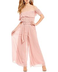 Lucy Paris - Off The Shoulder Pleated Jumpsuit - Lyst