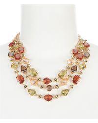 Anne Klein - Multi Stone 3 Row Frontal Statement Necklace - Lyst
