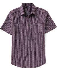 Murano - Slim-fit Chevron Jacquard Short-sleeve Woven Shirt - Lyst