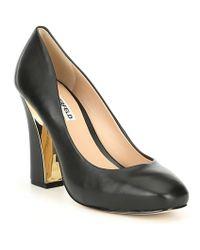 Karl Lagerfeld - Clari Leather Block Heel Platform Pumps - Lyst