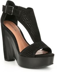 bb353fa2f829 Lyst - Gianni Bini Kenleyy Suede Ruffle Detail Wedges in Black
