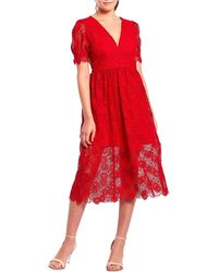 8b183522e70 Gianni Bini - Gabrielle Lace Puff Sleeve A-line Midi Dress - Lyst