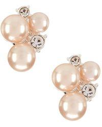 Anne Klein - Pink Pearl Cluster Clip-on Earrings - Lyst
