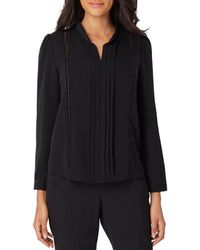Tahari - Pleat Front Braid And Lace Trim Georgette Top - Lyst