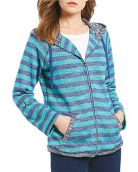 Ruby Rd | 3/4 Roll-tab Sleeve Zip-up Striped Hooded Jacket | Lyst