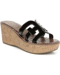 Sam Edelman - Regis Patent Wedge Sandals - Lyst