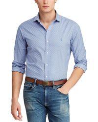 406a3972 Polo Ralph Lauren Big And Tall Poplin Striped Long Sleeve Shirt in ...