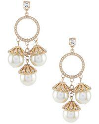 Belle By Badgley Mischka - Pearl Drop Hoop Statement Earrings - Lyst