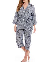 Lauren by Ralph Lauren - Plus Paisley Jersey Capri Pajamas - Lyst