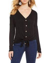 Gianni Bini - Jenny V-neck Button Front Knit Top - Lyst