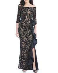 78975b9652fc2 Carmen Marc Valvo - Illusion Sequin Lace Off-the-shoulder Ruffle Side Slit  Gown