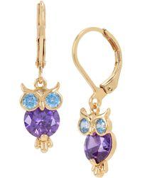 Betsey Johnson - Cz Owl Drop Earrings - Lyst