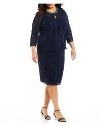 Alex Evenings - Plus Size Lace Shift Jacket Dress - Lyst
