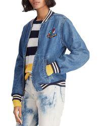 31dab54cd Polo Ralph Lauren Varsity Patchwork Denim Jacket in Blue - Lyst