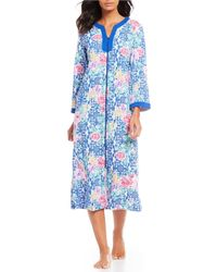 Miss Elaine - Plus Size Printed Zip-front Robe - Lyst
