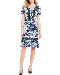 792618c7265 Lyst - Karl Lagerfeld Border Floral Printed Sleeveless Swing Dress ...