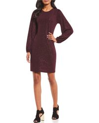 MICHAEL Michael Kors - Balloon Sleeve Sparkle Glitter Knit Jersey Shift Dress - Lyst