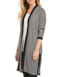 Jones New York - Textured Stripe Knit Long Cardigan - Lyst